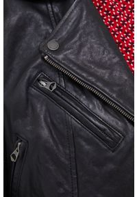 Pepe Jeans - Ramoneska skórzana Megan. Okazja: na co dzień. Kolor: czarny. Materiał: skóra. Styl: klasyczny, casual