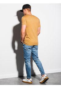 Ombre Clothing - T-shirt męski bawełniany basic S1369 - musztardowy melanż - XXL. Kolor: żółty. Materiał: bawełna. Wzór: melanż. Styl: klasyczny