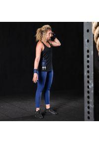 DOMYOS - Top do treningu crossowego damski. Kolor: czarny. Materiał: bawełna, materiał, poliester. Sport: fitness