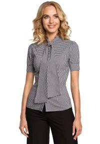 Czarna bluzka koszulowa MOE w kratkę