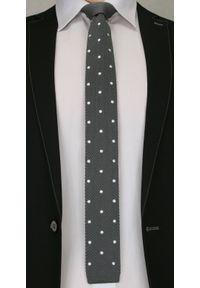 Stonowany, Dziergany Krawat Męski Knit - w Groszki - 5,5 cm - Alties, Szary. Kolor: szary. Materiał: poliester. Wzór: grochy. Styl: wizytowy