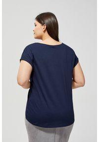 Niebieska bluzka MOODO krótka, z okrągłym kołnierzem