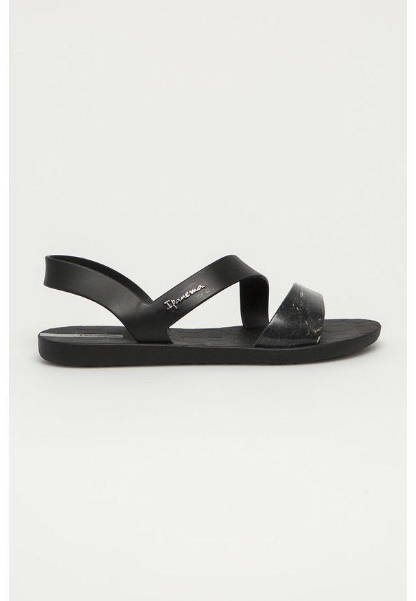 Czarne sandały Ipanema bez obcasa, gładkie