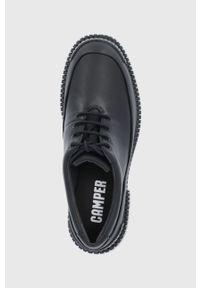 Camper - Półbuty skórzane Pix. Nosek buta: okrągły. Zapięcie: sznurówki. Kolor: czarny. Materiał: skóra. Obcas: na obcasie. Wysokość obcasa: niski
