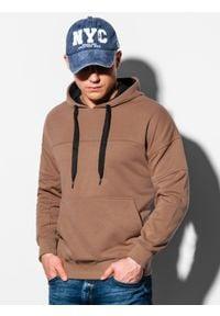 Ombre Clothing - Bluza męska z kapturem B1078 - brązowa - XXL. Typ kołnierza: kaptur. Kolor: brązowy. Materiał: bawełna, poliester