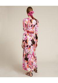 Luisa Spagnoli - LUISA SPAGNOLI - Sukienka w kwiatowy print Praia. Kolor: czarny. Materiał: wiskoza, jersey. Długość rękawa: długi rękaw. Wzór: kwiaty, nadruk. Sezon: lato