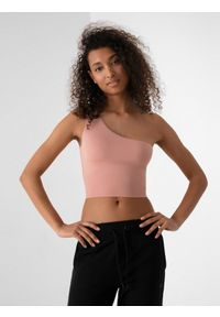 4f - Top slim na jedno ramię damski. Kolor: różowy. Materiał: dzianina, materiał
