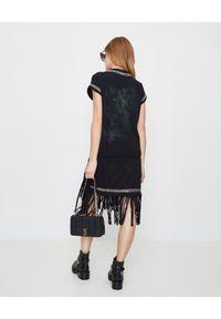 Balmain - BALMAIN - Sukienka z frędzlami. Okazja: na imprezę. Kolor: czarny. Materiał: bawełna. Wzór: kolorowy, aplikacja. Sezon: lato. Styl: rockowy #5