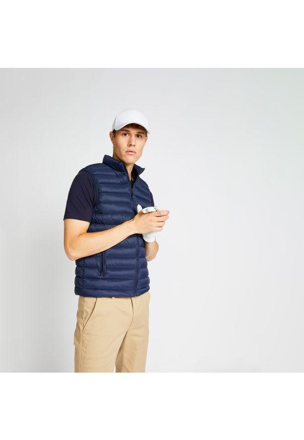 INESIS - Ciepła kamizelka do golfa MW500 męska. Typ kołnierza: golf. Kolor: niebieski. Materiał: puch. Długość rękawa: bez rękawów. Sport: golf