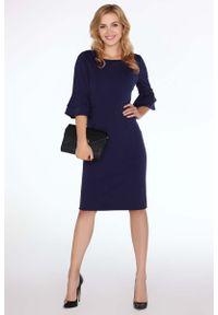 Merribel - Granatowa Dopasowana Sukienka z Hiszpańskim Rękawkiem. Kolor: niebieski. Materiał: poliester. Długość rękawa: krótki rękaw