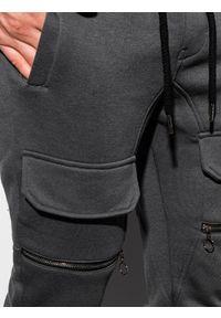 Ombre Clothing - Spodnie męskie dresowe joggery P901 - grafitowe - XXL. Kolor: szary. Materiał: dresówka #6