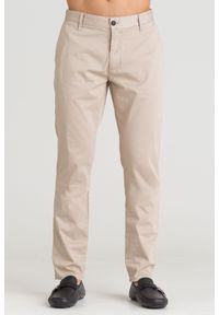 Beżowe spodnie Emporio Armani z aplikacjami