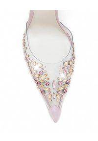RENE CAOVILLA - Szpilki z kryształami Claire. Zapięcie: pasek. Kolor: beżowy. Materiał: materiał. Wzór: aplikacja, motyw z bajki. Obcas: na szpilce #5