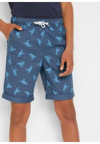 Bermudy chłopięce Regular Fit bonprix indygo. Kolor: niebieski. Wzór: nadruk