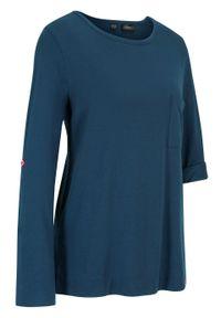 Niebieska bluzka bonprix długa, sportowa, z długim rękawem