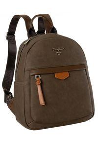 DAVID JONES - Plecak damski brązowy David Jones 6612-3A BROWN. Kolor: brązowy. Materiał: skóra ekologiczna