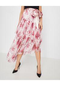 ZIMMERMANN - Różowa jedwabna spódnica. Kolor: różowy, wielokolorowy, fioletowy. Materiał: jedwab. Wzór: aplikacja