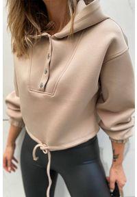 Beżowa bluza IVET na co dzień, z aplikacjami, casualowa