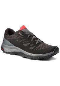 Czarne buty trekkingowe salomon z cholewką, trekkingowe