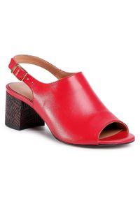 Czerwone sandały Simen na średnim obcasie, casualowe, na co dzień, na obcasie