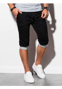 Ombre Clothing - Krótkie spodenki męskie dresowe P29 - czarno-szare - XXL. Kolor: szary. Materiał: dresówka. Długość: krótkie. Styl: klasyczny