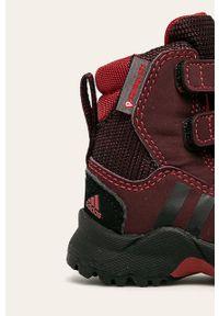 Brązowe buty zimowe adidas Performance na rzepy, z cholewką