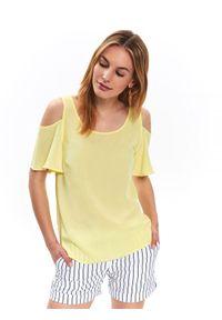 Żółta bluzka TOP SECRET w kolorowe wzory, z krótkim rękawem, casualowa, na co dzień