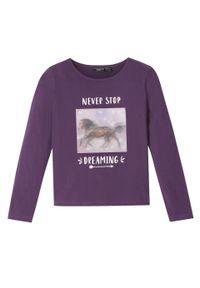 Fioletowa bluzka bonprix z długim rękawem, długa, z nadrukiem
