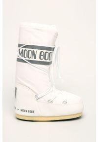 Białe śniegowce Moon Boot na obcasie, na sznurówki, z okrągłym noskiem, na średnim obcasie