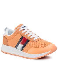 Pomarańczowe buty sportowe Tommy Jeans z cholewką, na płaskiej podeszwie