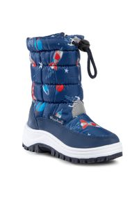 Niebieskie śniegowce Playshoes z cholewką, na spacer, marine, z aplikacjami