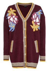 Fioletowy sweter bonprix z haftami, długi