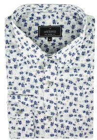 Niebieska elegancka koszula Victorio w kwiaty, z długim rękawem, długa