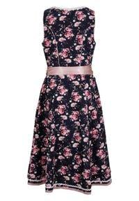 Sukienka w ludowym stylu w kwiaty bonprix czarny w kwiaty. Kolor: czarny. Wzór: kwiaty