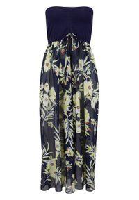 Sukienka plażowa z dekoltem bandeau bonprix niebiesko-żółty w kwiaty. Okazja: na plażę. Kolor: niebieski. Wzór: kwiaty. Styl: elegancki