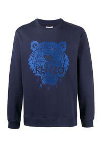 Kenzo - KENZO - Bluza z niebieskim tygrysem. Kolor: niebieski. Materiał: prążkowany, bawełna. Długość rękawa: długi rękaw. Długość: długie. Styl: klasyczny