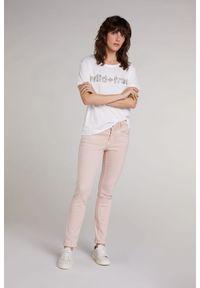 Biały t-shirt z napisami, z krótkim rękawem