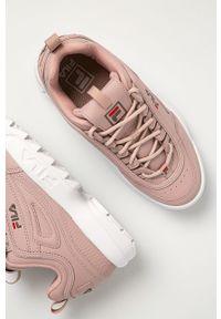Różowe buty sportowe Fila z cholewką, na obcasie, na średnim obcasie
