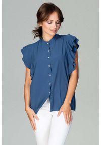 Katrus - Granatowa Koszulowa Bluzka z Falbankowym Rękawem. Kolor: niebieski. Materiał: poliester, elastan
