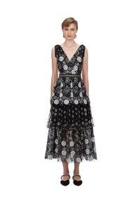 SELF PORTRAIT - Sukienka midi z cekinami. Okazja: na imprezę. Typ kołnierza: kokarda. Kolor: czarny. Wzór: aplikacja, kwiaty. Długość: midi