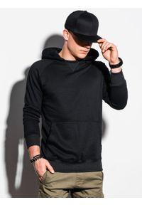 Ombre Clothing - Bluza męska z kapturem B1085 - czarna - XXL. Typ kołnierza: kaptur. Kolor: czarny. Materiał: bawełna, poliester