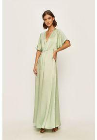 Zielona sukienka Vila rozkloszowana, z krótkim rękawem, maxi