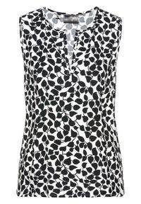 Bluzka bez rękawów bonprix czarno-biały z nadrukiem. Kolor: czarny. Długość rękawa: bez rękawów. Wzór: nadruk