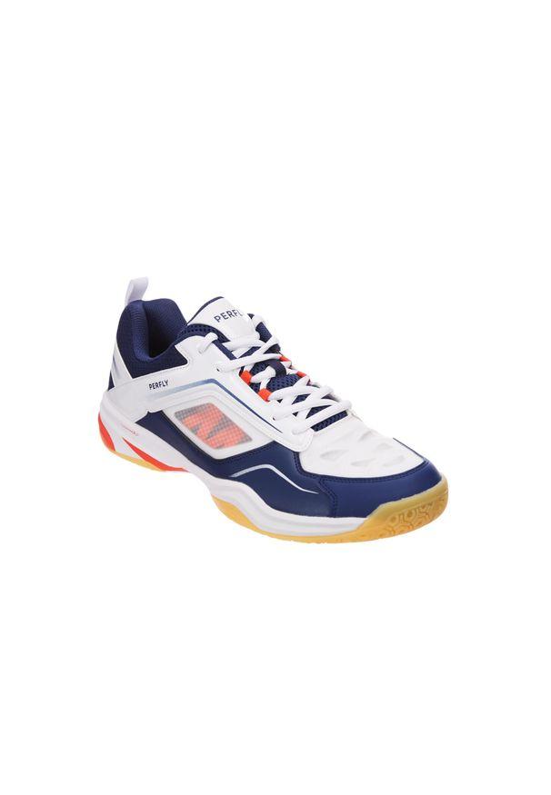 PERFLY - Buty do badmintona BS 560 Lite męskie. Kolor: biały, wielokolorowy, niebieski. Materiał: nylon. Szerokość cholewki: normalna