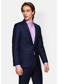Lancerto - Garnitur Granatowy w Kratę Warwic 2. Kolor: niebieski. Materiał: tkanina, włókno, wełna, wiskoza. Wzór: gładki