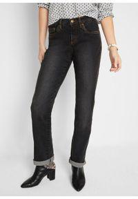 Czarne jeansy bonprix z podwyższonym stanem
