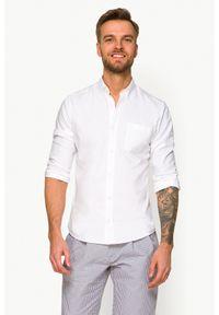 Biała koszula casual Lancerto ze splotem, button down