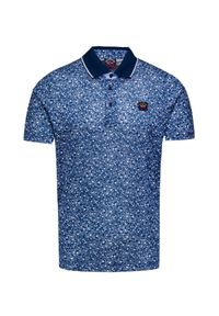 Niebieska koszulka polo Paul and Shark w kolorowe wzory, polo