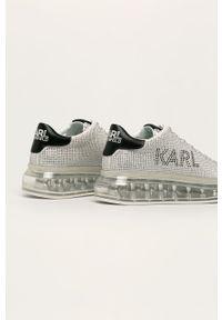 Srebrne buty sportowe Karl Lagerfeld z okrągłym noskiem, na sznurówki