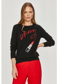 Czarny sweter DKNY długi, na co dzień, casualowy, z długim rękawem